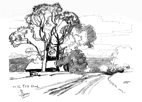 Sketch of house and trees by East