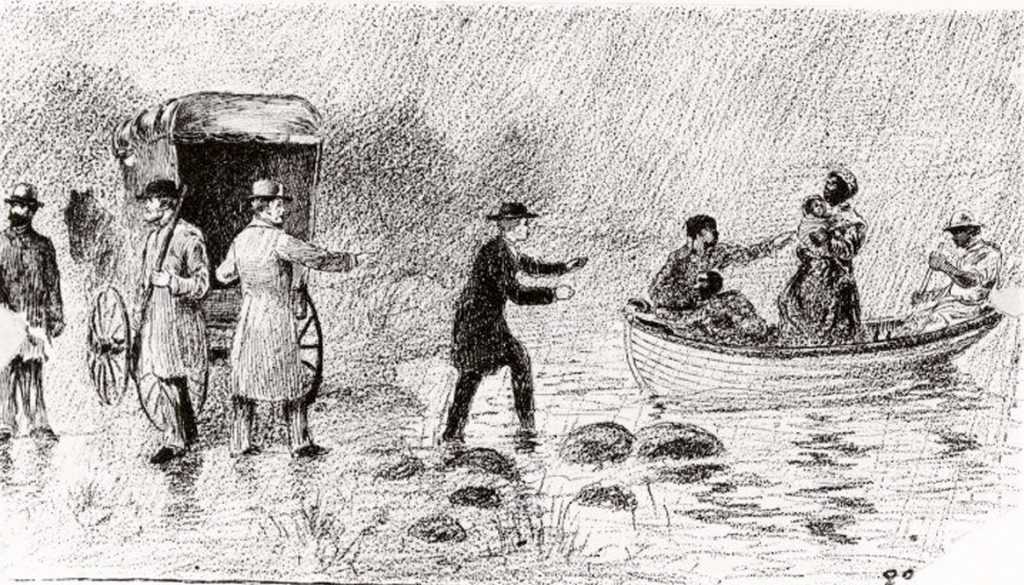 drawing, escaped Negroes