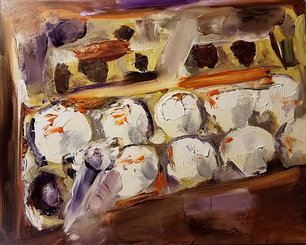 painting of eggs in carton