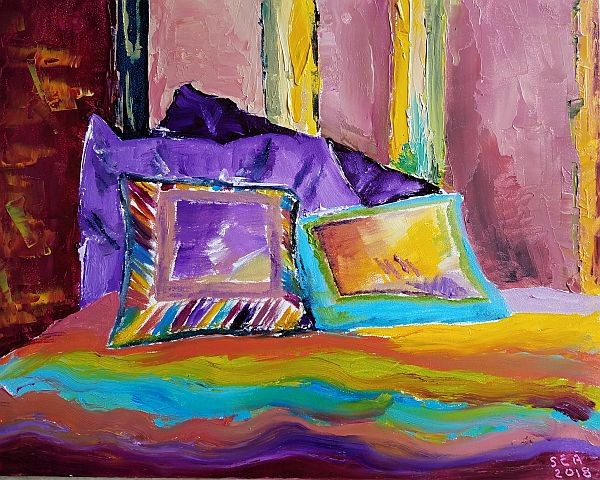 Painting of Needlepoint Pillows