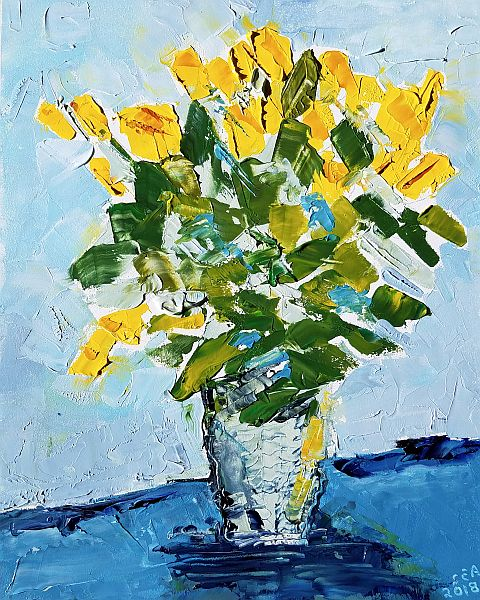 Painting of yellow roses