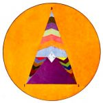 Orange circle, surrounding triangle with colors