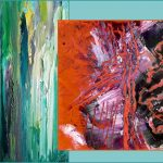 2 paintings,, one blue green, one red