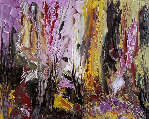 Abstract Painting in Mauves