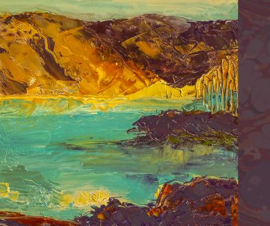 Painting of lake and hills