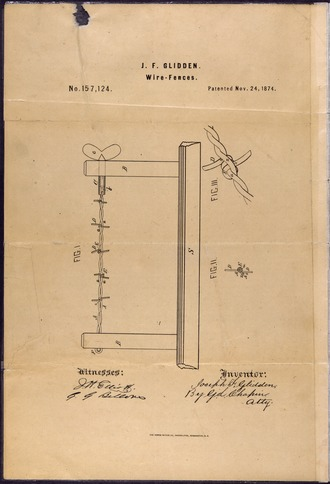 Glidden's patent for barb wire drawing