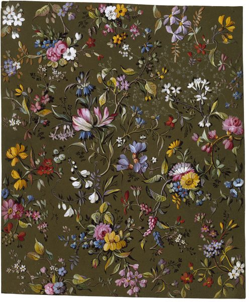 Textile design, flowers on a khaki background