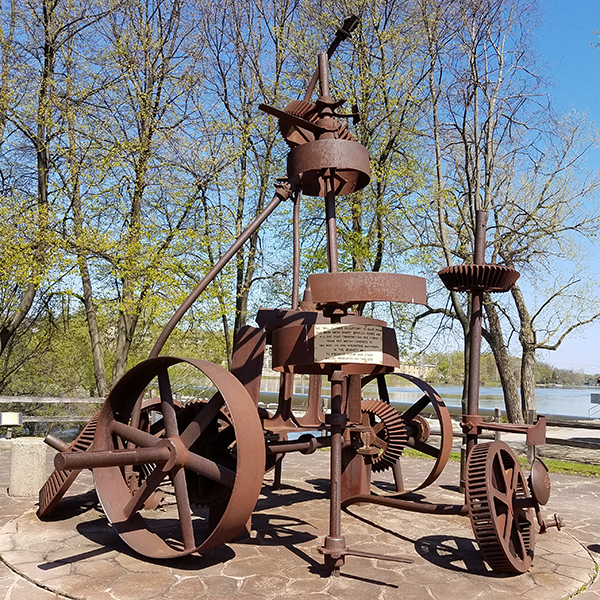 Sculpture made from old water turbine gears
