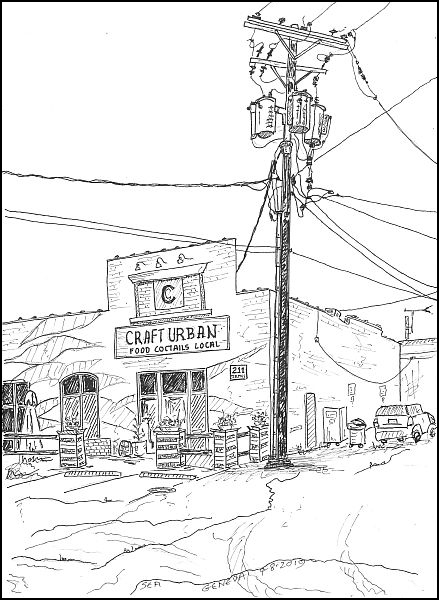 local pub with telephone pole