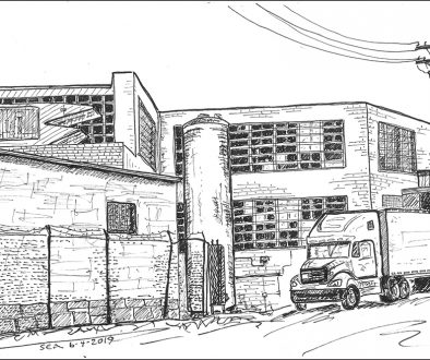 sketch of old factory