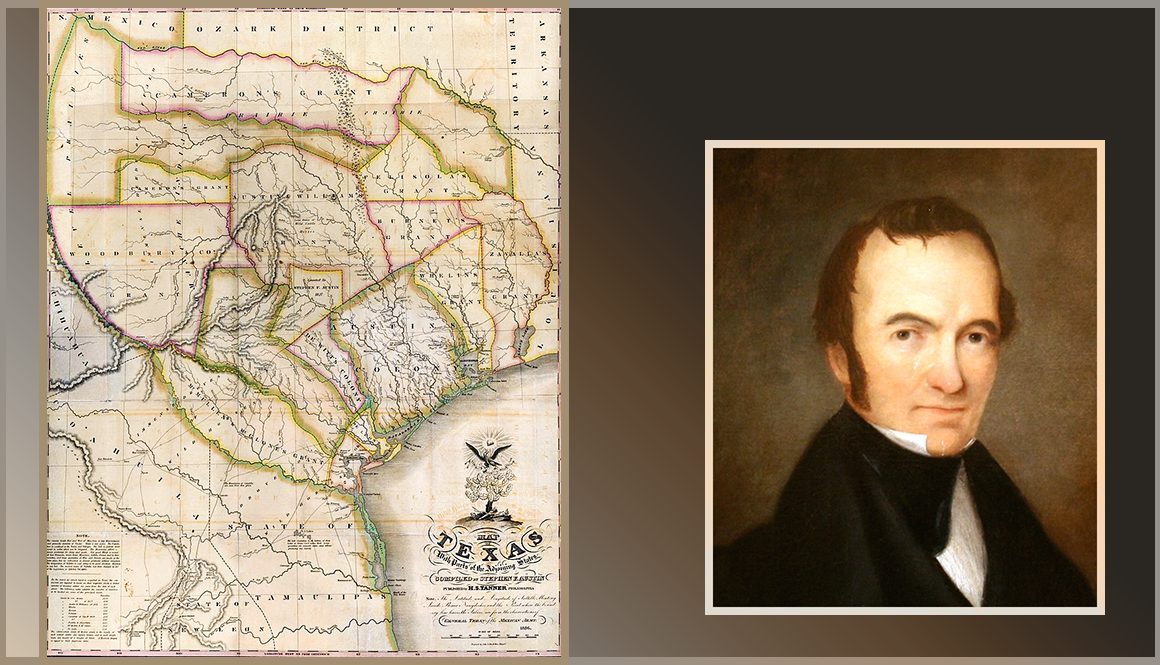 Portraint of Stephen Austin; Texas map
