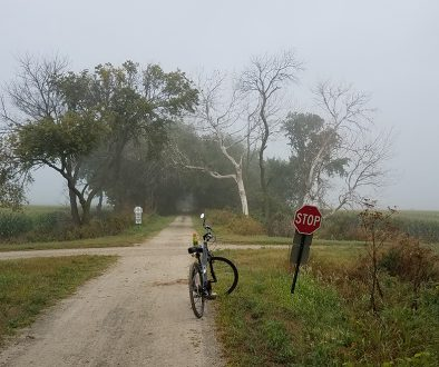 Bicycle at crossroads in path