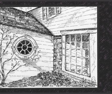 sketch of corner window with reflection