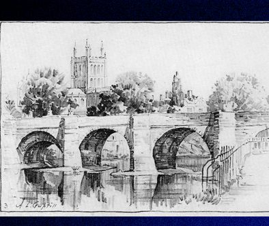 Wye Bridge Sketch by Arthur Guptill