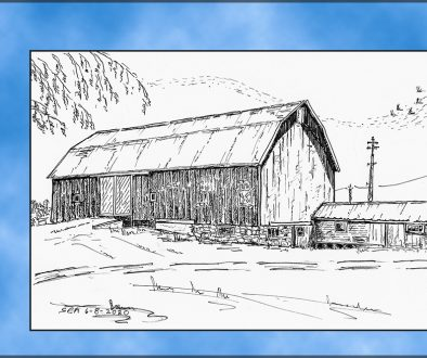 Sketch of dairy barn