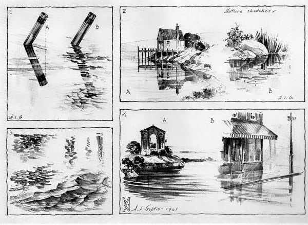 pencil sketches of water
