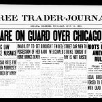 Newspaper headline: Troops on Guard in Chicago Streets, 1919