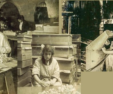 photos of girls 14-16 making artificial flowers around 1910